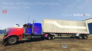 Peterbilt 389 Optimus Prime Paintjob With Trailer [4K] - GTA5-Mods.com