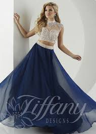 tiffany designs 16135 beaded illusion two piece gown illusions