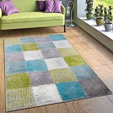 paco home designer teppich wohnzimmer ausgefallene farbkombination karo türkis grün grau grösse 120x170 cm