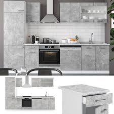 vicco küche r line 300 cm küchenzeile küchenblock einbauküche beton ohne arbeitsplatten