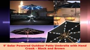 Solar Powered Patio Umbrella Led Lights by 9 Solar Powered Outdoor Patio Umbrella With Hand Crank Black And
