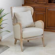 Noble House Craig Beige Fabric Wing Accent Chair - Walmart ...