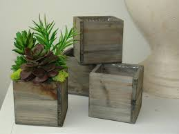 Natural Wood Square Vase With Artificial Real Touch Potted Succulents Wedding Flower Pot Centerpiece Woodwork Rustic