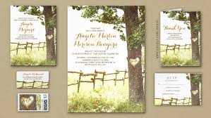 Rustic Country Wedding Invitation With Love Heart Tree