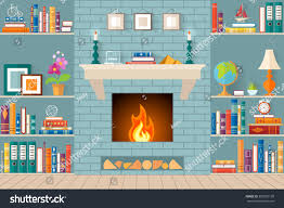 Living Room With Fireplace And Bookshelves by Living Room Bookshelves Fireplace Flat Style Stock Vector