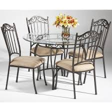 Wrought Iron 5 Piece Round Dining Set In Antique Taupe By Chintaly Imports