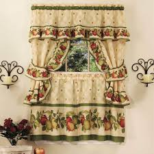 Floor Creamy Jcpenney Kitchen Curtain 70 Percent Polyester For Green Apple Pattern In Tiebacks Pair Then