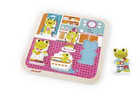janod puzzle im badezimmer mit 5 figuren aus holz für kleinkinder j07083 edelspielzeug edelstes kinderspielzeug in bester qualität
