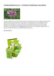 Gardening Resources National Gardening Association