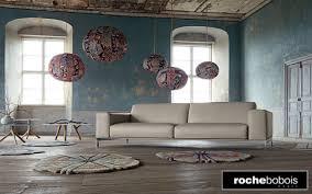 canapé cuir blanc roche bobois salon moderne rochebobois