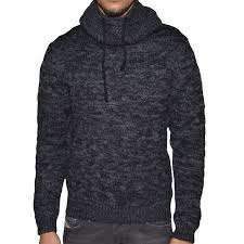 pull pour homme crossby concept anthracite col montant boule