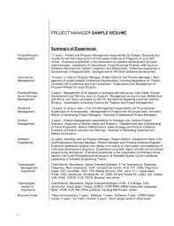 Example Resume Sample Experience Summary Project Manager Of 15 How