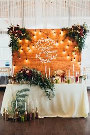 Source VK Rustic Wood Backdrop And Greenery Sweetheart Table For Indoor Wedding Reception