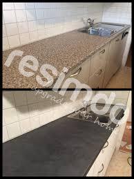 hier wurde die arbeitsfläche einer küche mit robuster