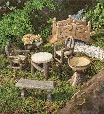 Main Image For Woodland Fairy Garden Resin Furniture Set