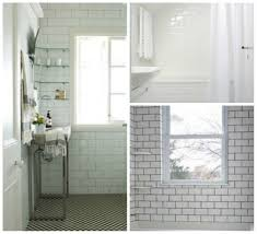 white subway tile rockrosewine with gray grout bathroom glossy