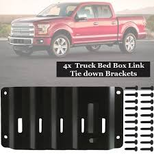 100 F250 Truck Bed 4pk Box Link Tie Down Brackets Plate Fit For Ford F150