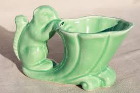 vintage green glaze McCoy pottery planter squirrel on horn of