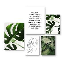 details zu 5er set natur wandgalerie bilder poster pflanzen boho spruch deko wohnzimmer