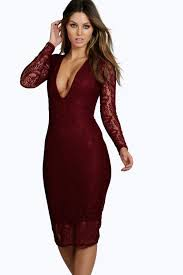 sia lace long sleeve plunge bodycon midi dress boohoo