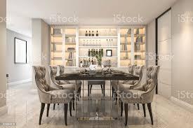 3d rendering essen inmitten eines modernen luxus esszimmer neben tür stockfoto und mehr bilder architektur