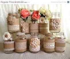 Barn Wedding Decorations For Sale 3 Day Rustic Burlap And Lace Covered Mason Jar Vases Decoration