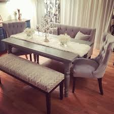 My New Grey Rustic Chic Dining Table Set Tufted Velvet Chairs Satee And Chevron Bench With Farmhouse Style