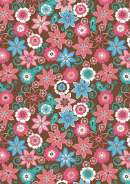 Brown And Pink Floral Scrapbook Paper