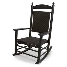 Jefferson Recycled Plastic Wood Woven Patio Rocking Chair By POLYWOOD -  Black Frame / Cahaba Weave