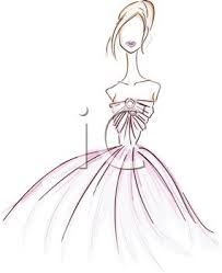 Black and White Image of a Woman Wearing a Prom Dress In a Vector Clip Art Illustration Royalty Free Clipart Illustration