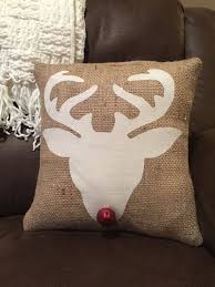 Add Some Rustic Charm To Your Holiday Decor This Reindeer Head Silhouette Burlap Pillow Is