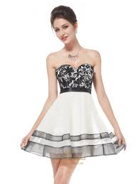white cocktail dress with black lace overlay strapless women u0027s
