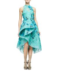 monique lhuillier floral embellished guipure lace dress in green