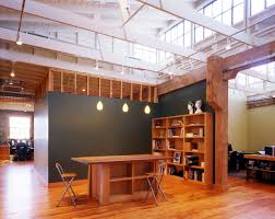 Office Workspace Wooden Design Feature Grey Wall Themes With Expose Construction Ceiling Scheme And Rectangular Table