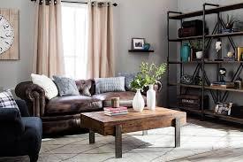 Chic Rustic Living Room With Beautiful Rack Brown Sofa DIY Table
