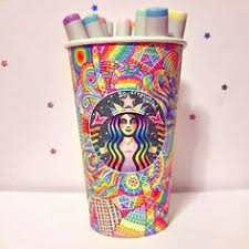 Rainbow Starbucks Cup Art Created With Copic Markers And Sharpies