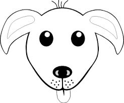 Dog 1 Face Grey Black White Line Animal Art Coloring Sheet Colouring PageSVG 56K