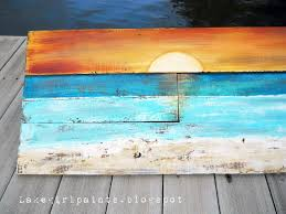 Lake Girl Paints Sunset Beach Art From Fence Boards Pallet Artmy First Retirement Project