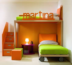 Stylish Small Space White Kids Bedroom Design With Beautiful Loft Bed And Orange Functional Staircase For