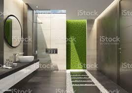 luxusbadezimmer mit innovativen grünes moos wand und ein oberlicht stockfoto und mehr bilder accessoires