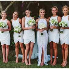 Tight Bridesmaid Dresses Short Mermaid Cute White 17111