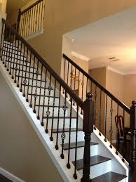 Model Staircase: Wrought Iron Staircase Spindles Replacing Wooden ... Wrought Iron Stair Railing Idea John Robinson House Decor Exterior Handrail Including Light Blue Wood Siding Ornamental Wrought Iron Railings Designs Beautifying With Interior That Revive The Railings Process And Design Best 25 Stairs Ideas On Pinterest Gates Stair Railing Spindles Oil Rubbed Balusters Restained Post Handrail Photos Freestanding Spindles Installing