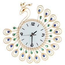 Luxury Diamond Peacock Large Wall Clocks Metal Living Room Decor