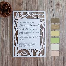 Rustic Tree Stringlights Laser Cut Wedding Cards EFWS015