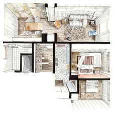 Color Perspectives On Behance Sketch Interior Design