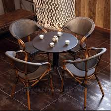 [Hot Item] Vintage Cafe Rattan Restaurant Furniture For 4 Persons (SP-CT838) Safavieh Tana Grey Rattan Ding Chair Set Of Seaa Chairs Baker Fniture Milling Road Chest Table Logo Of 4 Rattan Ding Chairs By Gian Franco Legler 6 Soria Marvelous Antique Value White Floral Vintage Bamboo Round And At Real Mcguire Cracked Ice Six Brown Reading Super Cute Set In Very Nice Black Metal Farmers Argos Room