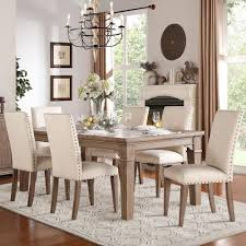Homelegance Mill Valley Relaxed Vintage Dining Table And Chair Set With Nailhead Trim On Chairs