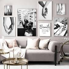 in rauch mädchen mode poster schwarz weiß grau druck leinwand malerei wand kunst dekoration bild wohnzimmer decor