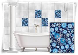fliesen aufkleber fliesen bild folie nostalgie blumen abstrakt blau bad wc deko