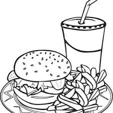Drawing Junk Food Trio Coloring Page